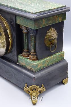1880 Seth Thomas Adamantine Shelf Mantel Clock Green Black