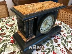 1880's Seth Thomas Antique Mantle Clock Adamantine Marble Finish Top