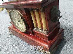 1880's Seth Thomas Red Adamantine 3-column Clock 2 Bell Movement