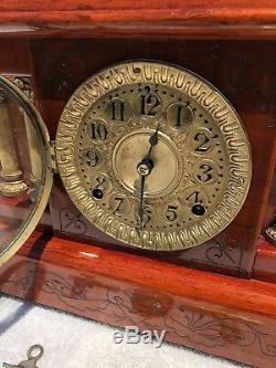 1890's Antique Seth Thomas Mantel Shelf Clock Working Adamantine