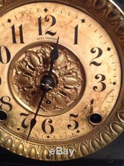 1890s Seth Thomas Mantle Mantel Shelf Clock, Fancy Lion Heads With Columns 4 1/2
