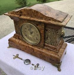 1896 Antique Seth Thomas Mantel Clock Working Correctly Butterscotch Adamantine