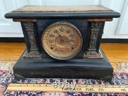 1896 Seth Thomas Adamantine Mantle Clock #102 Marble Gilt Columns lions Works x