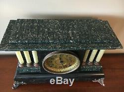 1910 Seth Thomas Mantle Clock 6 Full Column Lion Heads Black Green Adamantine