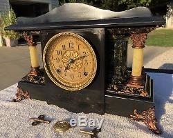 1910's Antique Seth Thomas Mantel Shelf Clock Shasta Adamantine Working Great