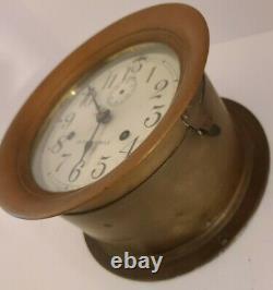 1935 SETH THOMAS WWII US NAVY Brass Ships Bell Porthole Ship Clock Parts/Repair