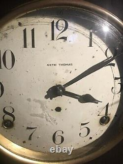 89AL Seth Thomas Beehive Mantel Clock Working Gong Chime Antique W Key Pendulum