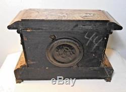 ANTIQUE SETH THOMAS ADAMANTINE FAUX MARBLE MANTEL CLOCK, c. 1900