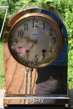 ANTIQUE SETH THOMAS BRASS CASE MANTLE CLOCK RUNS 8 day TIME/STRIKE