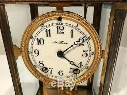 ANTIQUE SETH THOMAS CRYSTAL REGULATOR CLOCK GOLD GILT BRONZE CHIME 12 WithKEY
