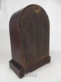 ANTIQUE SETH THOMAS MANTEL CLOCK key 89C wood round top RARE both GONG & BELL
