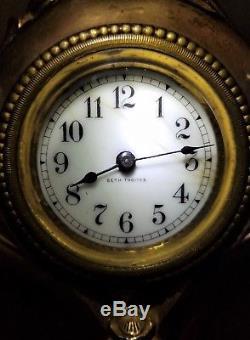 ANTIQUE WORKING Seth Thomas ART NOUVEAU Mantel Clock-Gilt Gold- Floral & Clover