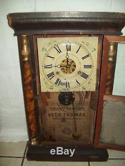ANTIQUE c1800's SETH THOMAS WEIGHT DRIVEN MANTLE CLOCK WORKS