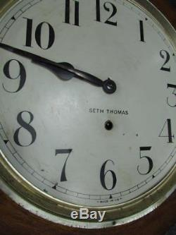 ANTIQUE signed & working SETH THOMAS OAK GALLERY WALL CLOCK