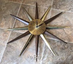 ATOMIC Mid Century Modern Seth Thomas STARBURST Metal Wall Clock Vintage WORKS
