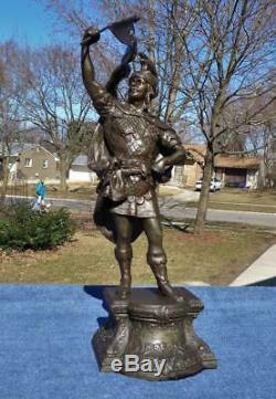 Ansonia Kroeber Warrior Figural Statue Shelf Mantle Original Patina