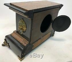 Antique 14 SETH THOMAS Lion Head Adamantine Mechanical Wind Mantle Clock READ