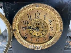 Antique 17 Seth Thomas Adamantine Black Wood Mechanical Claw Foot Mantel Clock