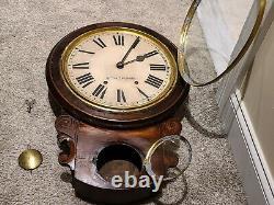 Antique 1800's SETH THOMAS Brighton Round Top Time/Strike Regulator Wall Clock