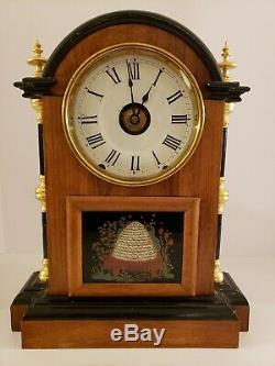 Antique 1850's Restored SETH THOMAS Plymouth Conn Fancy 8 Day Mantel Shelf Clock