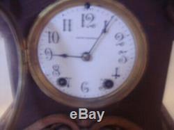 Antique 1860 Seth Thomas Tiger Oak Highly Carved Clock. Serviced