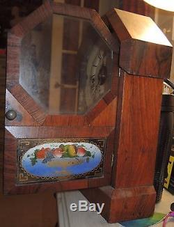 Antique 1860's SETH THOMAS Rosewood Octagon Top Cottage Mantel Clock GOOD COND