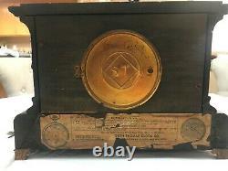 Antique 1880ish Seth Thomas Adamantine Mantle Clock WithKEY Brass & Faux Marble