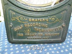 Antique 1887 DRAPER'S Self-Recording Thermometer with Seth Thomas Clock Works