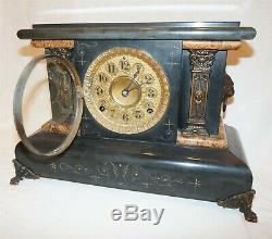 Antique 1893 Set Thomas Adamantine Mantle Clock #102 Lion Pillars with Key