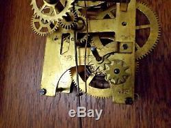 Antique 1900 Seth Thomas Oak Case Regulator Wall Clock with Calendar RUNS GREAT