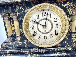 Antique 1902 Seth Thomas Adamantine Mantel Clock 4 Pillar with KEY Mantle WORKING