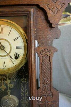 Antique 1904 Seth Thomas 298A Gingerbread Oak 8 Day Half Hour Mantle Clock w Key