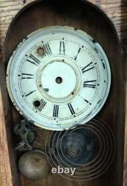 Antique 1904 Seth Thomas Gingerbread Oak Wood Clock Case w Parts Only