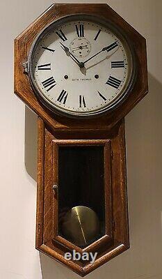 Antique 1913 SETH THOMAS World Octagon Long Drop 30 Day Regulator Wall Clock
