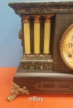 Antique 1916 SETH THOMAS Mantel Clock ADAMANTINE 6 COLUMN Clock 89C WORKS