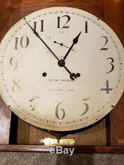 Antique 1921 SETH THOMAS 30 Day Office #11 Oak Gallery Regulator Wall Clock 86T