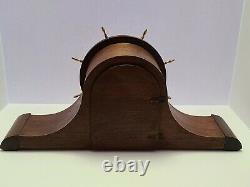 Antique 1939 SETH THOMAS Deco Nautical'Ships Wheel' Tambour Mantel Shelf Clock