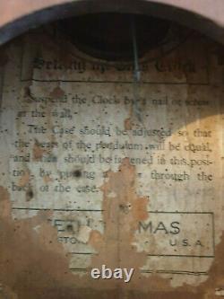 Antique 19th Century Solid Oak Octagonal Drop Dial Seth Thomas Wall Clock