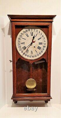 Antique 8 Day Seth Thomas Office Calendar Regulator Wall Clock 35 In Tall Works