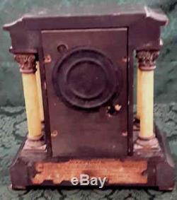 Antique Adamantine Seth Thomas shelf mantel Column clock Lions Heads Pat. 1880