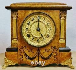 Antique American 8 Day Striking Walnut & Gilt Metal Seth Thomas Mantel Clock