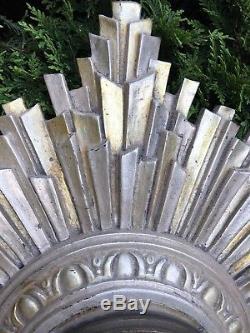 Antique Art Deco / Mid Century Style Seth Thomas Starburst Wall Clock Runs