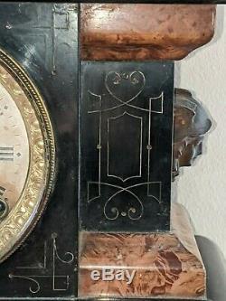 Antique Black Seth Thomas Mantel Clock Label #102 Eastlake style Rare