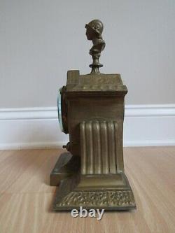 Antique CAST IRON & FIGURAL mantel clock rare SETH THOMAS & SONS 1800's