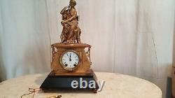 Antique Figural Brass/Gilt Metal mantel clock