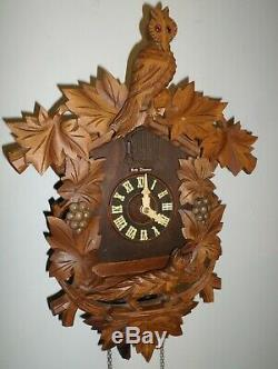 Antique German Black Forest Seth Thomas Fox & Owl In Grape Vineyard Cuckoo Clock