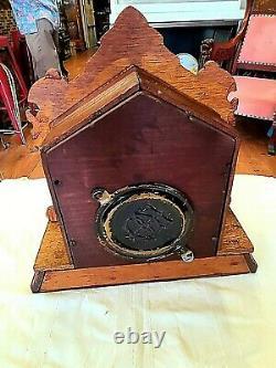 Antique Mantel Clock Seth Thomas Clock Co, Brass / Oak We Ship