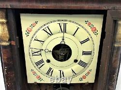 Antique Old Seth Thomas Thomaston CT Birds Large Mantle Clock w Weights Parts