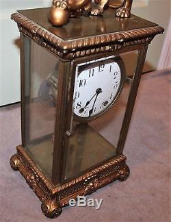 Antique Rare Seth Thomas Empire No. 13 And Lion Crystal Regulator Clock Running