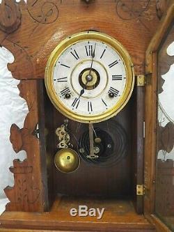 Antique SETH THOMAS Oak Kitchen Shelf Mantel Clock with Alarm Circa 1910